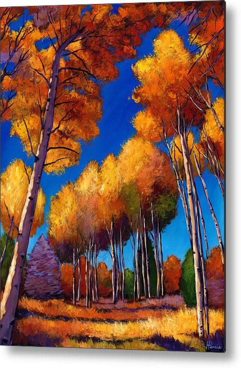 Autumn Aspen Metal Print featuring the painting Up And Away by Johnathan Harris