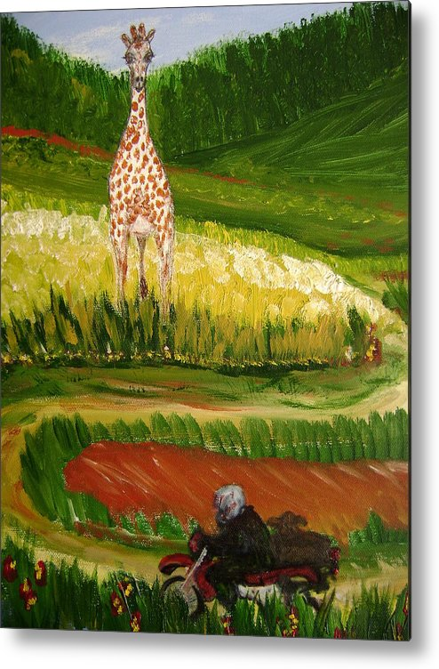 Giraffe Metal Print featuring the painting Up Around The Bend by Laura Johnson