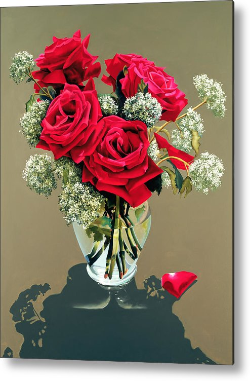 Flower Metal Print featuring the painting Valentine Roses by Ora Sorensen
