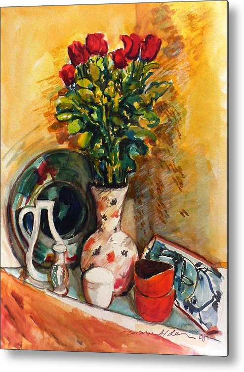 Floral Metal Print featuring the painting Valentine's Day Bouquet by Doranne Alden