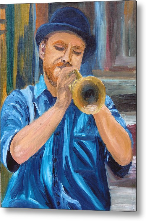 Musician Metal Print featuring the painting Van Gogh Plays The Trumpet by Michael Lee