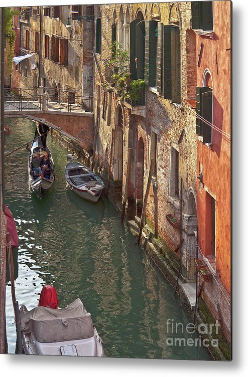 Venice Metal Print featuring the photograph Venice Ride With Gondola by Heiko Koehrer-Wagner
