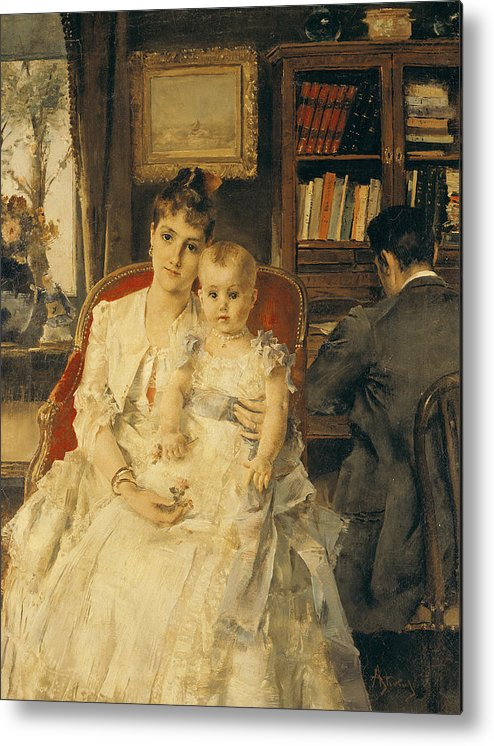 All Metal Print featuring the painting Victorian Family Scene by Alfred Emile Stevens