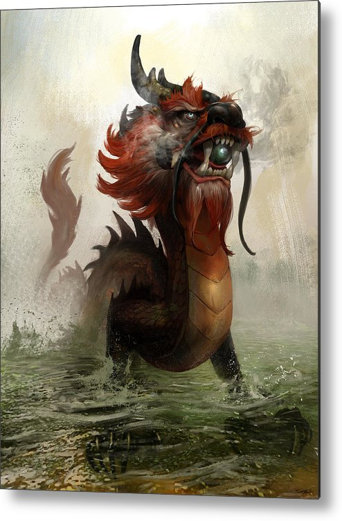 Vietnamese Dragon Metal Print featuring the mixed media Vietnamese Dragon by Steve Goad