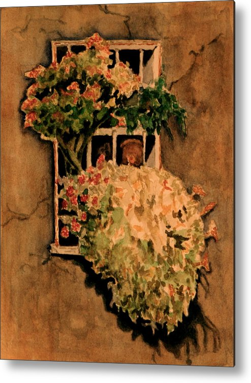 Flowers Metal Print featuring the painting View From A Roman Window by Dan Earle