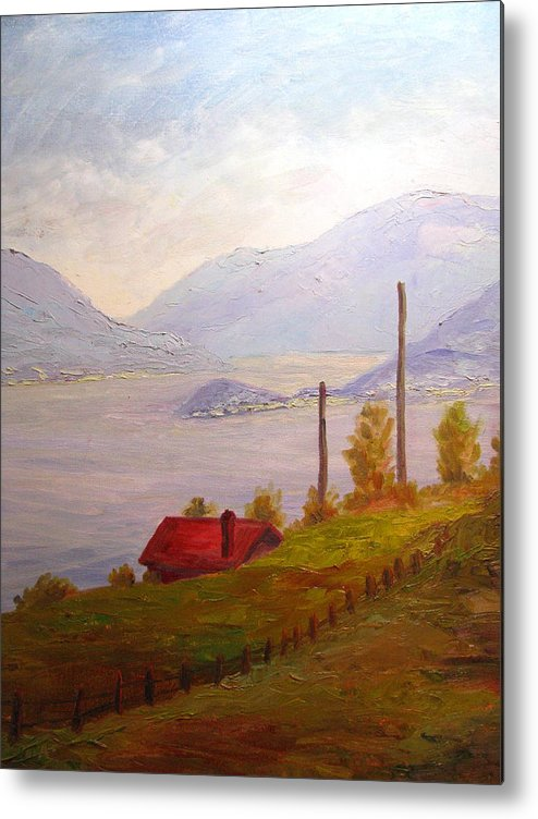 Italy Metal Print featuring the painting View Of Bellagio Lake Como Italy by Belinda Consten