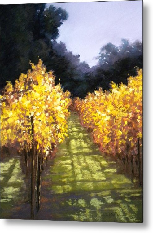 Landscape Metal Print featuring the painting Vineyard by Maralyn Miller