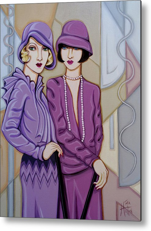 Flappers Metal Print featuring the painting Violet And Rose by Tara Hutton