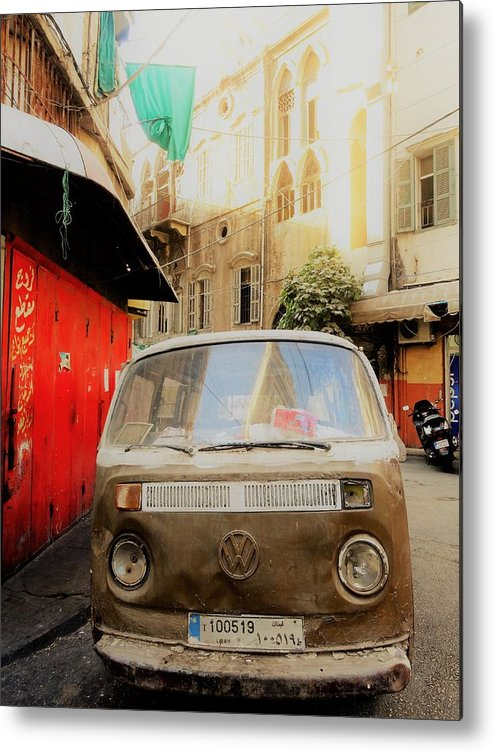 Beirut Metal Print featuring the photograph Vw Bus Parked In Basta Beirut by Funkpix Photo Hunter