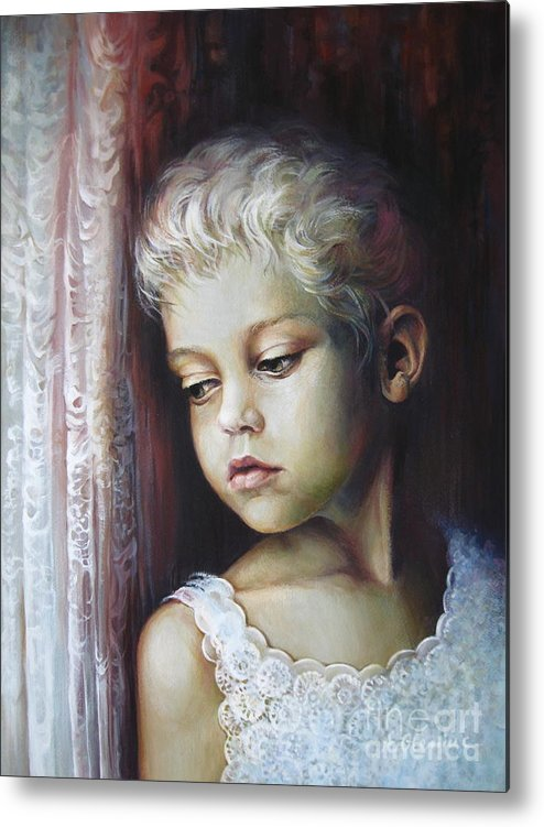 Child Metal Print featuring the painting Waiting by Elena Oleniuc