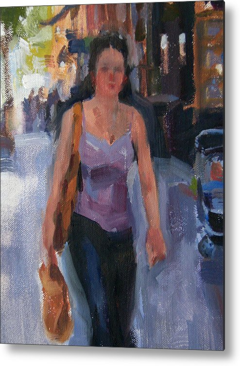 New York Metal Print featuring the painting Walking Down Bleeker Street by Merle Keller