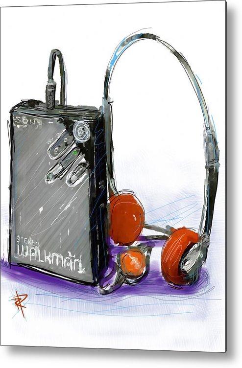 Sony Metal Print featuring the digital art Walkman by Russell Pierce