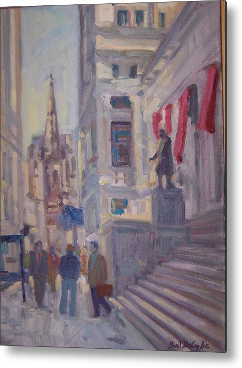 Street Scene Of Wall St.trinity Church Metal Print featuring the painting Wall St. by Bart DeCeglie