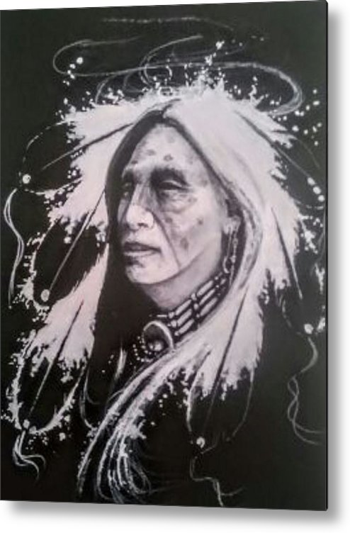 Native American Indianart Metal Print featuring the painting Warrior 2 by DC Houle