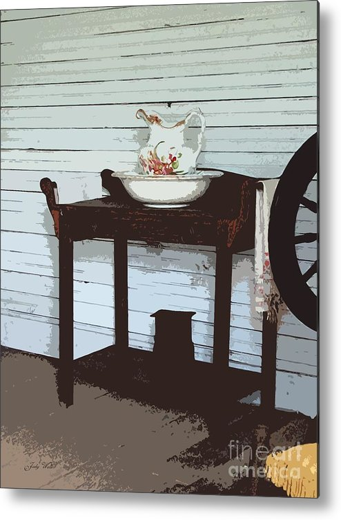 Old Metal Print featuring the photograph Wash Stand by Judy Waller