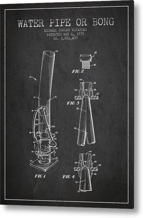Marijuana Metal Print featuring the digital art Water Pipe Or Bong Patent 1975 - Charcoal by Aged Pixel