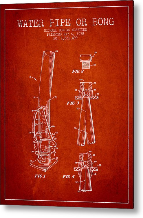 Marijuana Metal Print featuring the digital art Water Pipe Or Bong Patent 1975 - Red by Aged Pixel