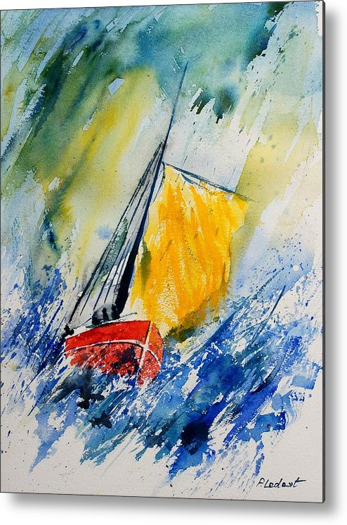 Sea Waves Ocean Boat Sailing Metal Print featuring the painting Watercolor 280308 by Pol Ledent