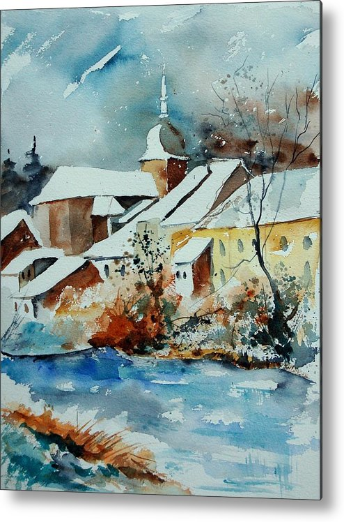Landscape Metal Print featuring the painting Watercolor Chassepierre by Pol Ledent