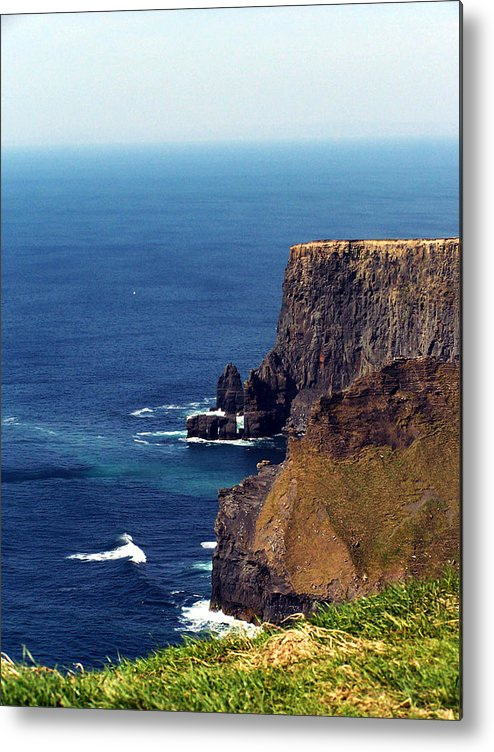 Irish Metal Print featuring the photograph Waves Crashing At Cliffs Of Moher Ireland by Teresa Mucha