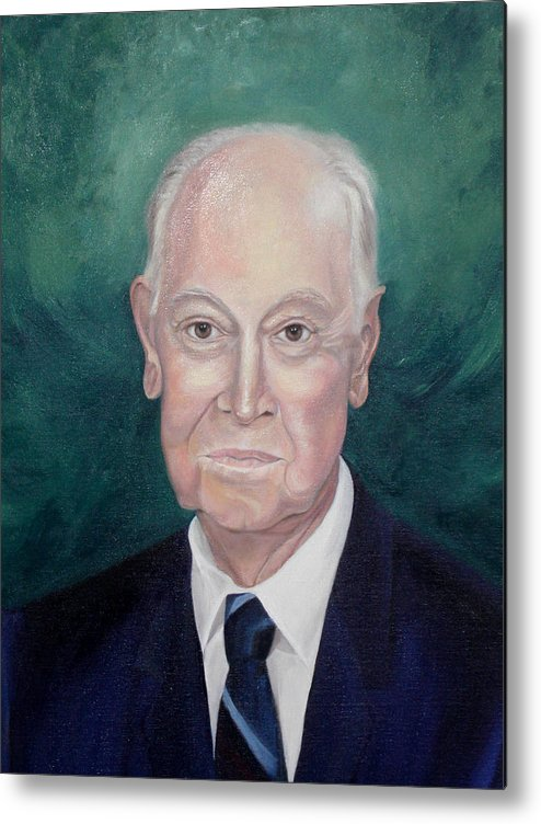 Commissions Metal Print featuring the painting Wc Brown Commsioned Portrait by Anne Cameron Cutri