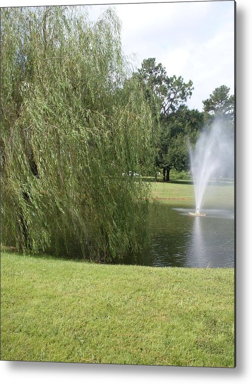Weeping Willow Metal Print featuring the photograph Weeping Willow And Fountain by Warren Thompson
