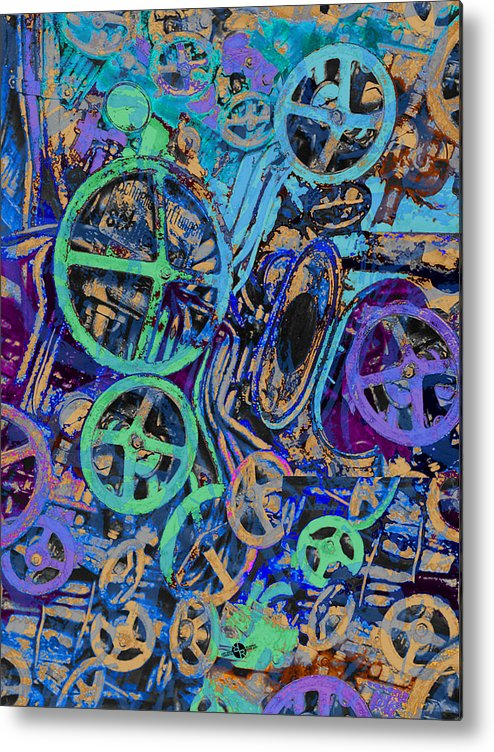 Machine Metal Print featuring the painting Welcome To The Machine Blue by Tony Rubino