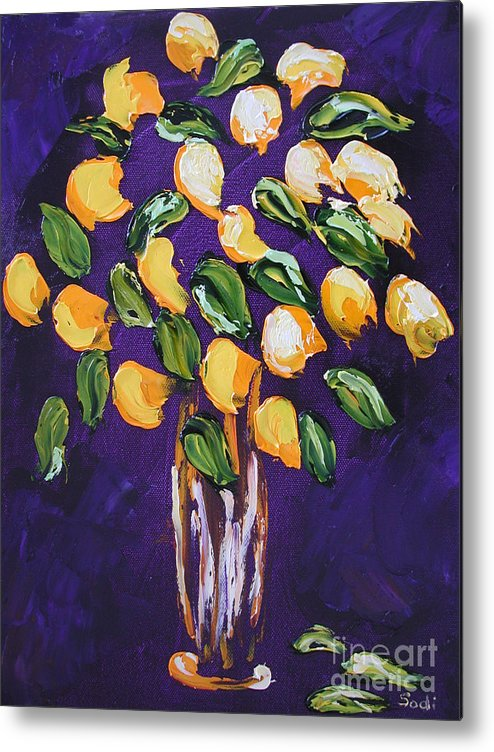 Floral Metal Print featuring the painting Wendy by Sodi Griffin