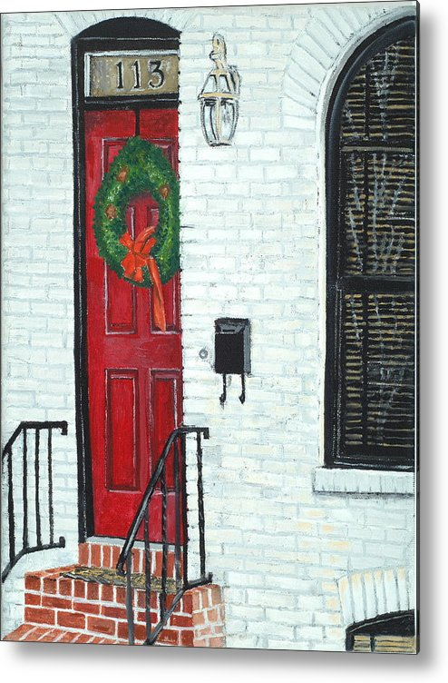 Baltimore Metal Print featuring the painting West Street Christmas by John Schuller