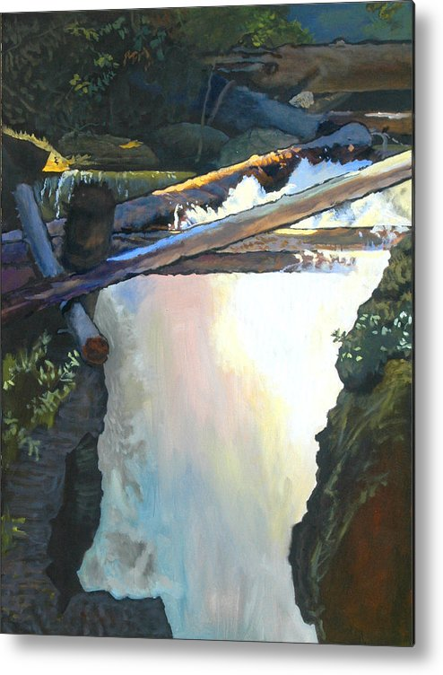 Fall Metal Print featuring the painting West Yaak Falls by Robert Bissett