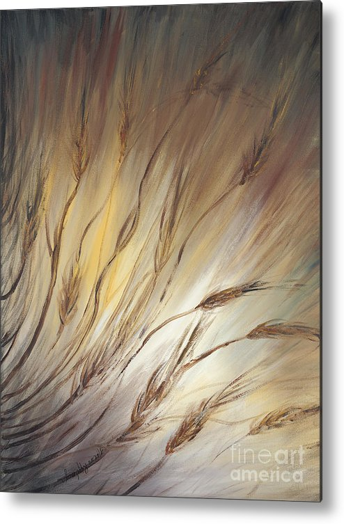 Wheat Metal Print featuring the painting Wheat In The Wind by Nadine Rippelmeyer
