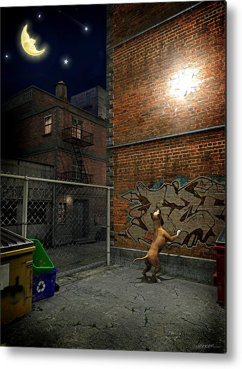 City Metal Print featuring the digital art When Stars Fall In The City by Cynthia Decker