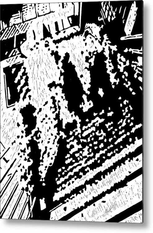 Black Metal Print featuring the painting Which Way Up -- Hand-pulled Linoleum Cut by Lynn Evenson