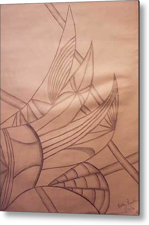 Abstract Metal Print featuring the drawing Wild Vines by Natalee Parochka