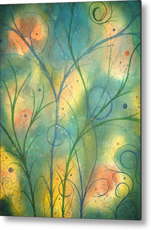 Ocean Sky Yoga Painting Abstract Lenox Berkshire Massachussets Metal Print featuring the painting Winds Of Change 2 by Scott Harrington