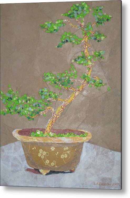 Banzai Tree Metal Print featuring the painting Windswept Juniper by Leah Tomaino