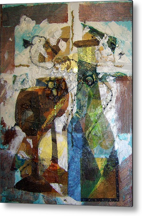 Mixed Media Collage Acrylic Abstract Wine Bottle Glasses Goblets Collage Texture Metalics Metal Print featuring the painting Wine Bottle With Two Glasses by Terry Honstead