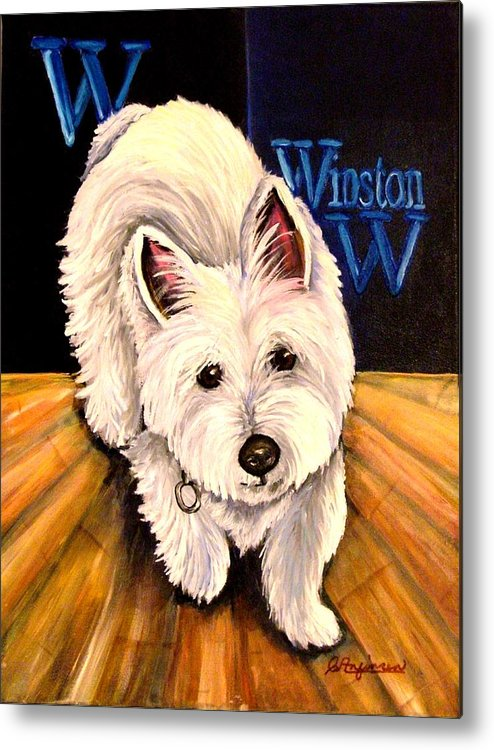 Dog Westie West Highland Terrior Animals Furry Dogs Dog Portraits Metal Print featuring the painting Winston by Carol Allen Anfinsen