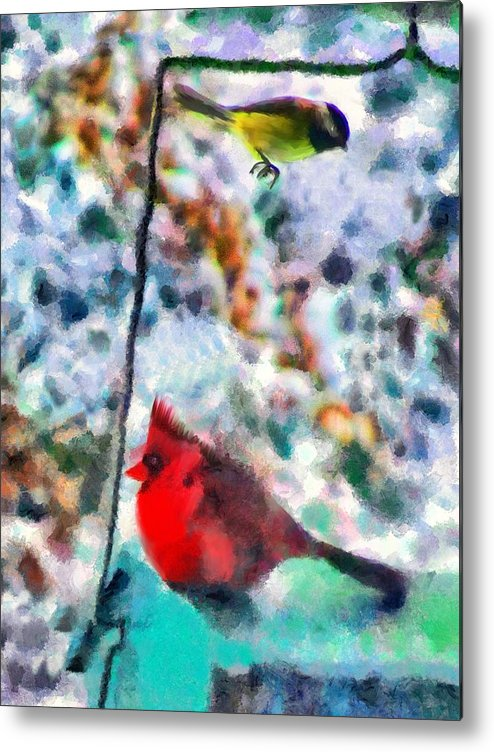 Birds Metal Print featuring the mixed media Winter Meals by Marilyn Sholin