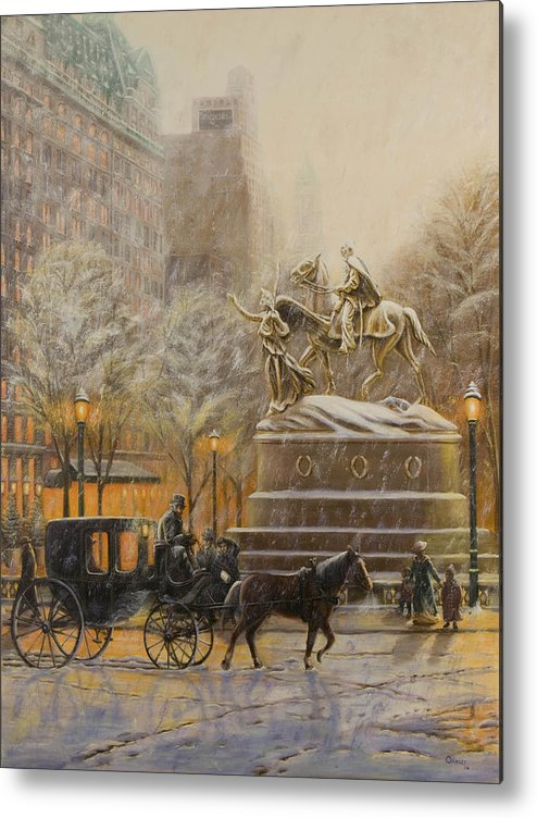 Winter Painting Metal Print featuring the painting Winter Twilight At Grand Army Plaza by Christopher Oakley