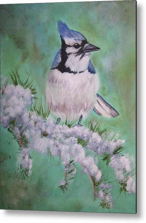 Bird Metal Print featuring the painting Winter Visitor by Wendy Smith