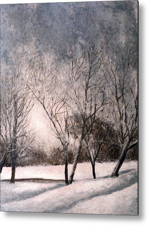 Winter Metal Print featuring the painting Winter by Vladimir Kezerashvili