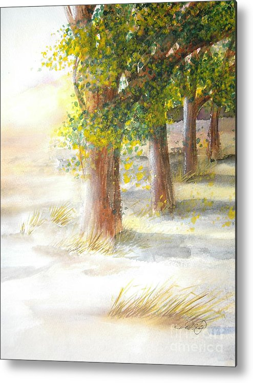 Landscape Metal Print featuring the painting Winter Winds by Vivian Mosley