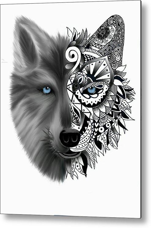 Wolf Tattoo Metal Print
