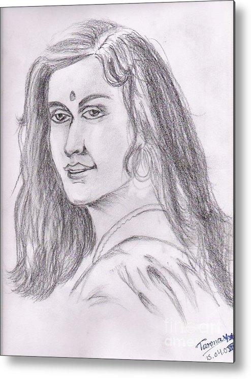 Indian Woman Drawing Metal Print featuring the painting Woman Of India by Tanmay Singh