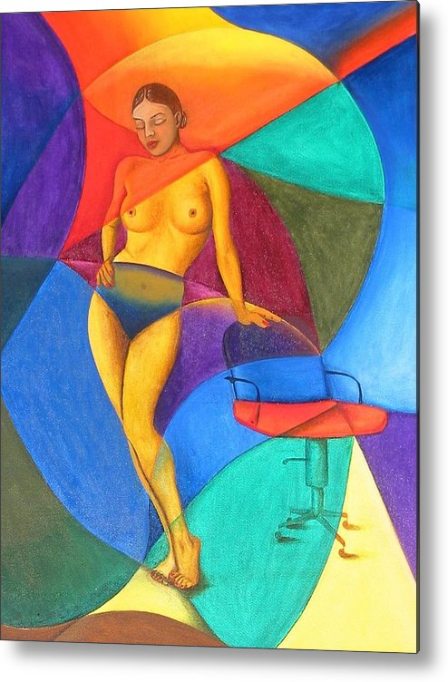 Woman Metal Print featuring the painting Woman With Chair by Mak Art