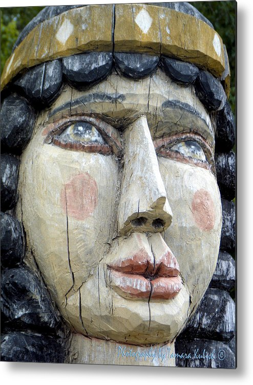 New Mexico Metal Print featuring the photograph Wooden Carving In Santa Fe 8 by Tamara Kulish