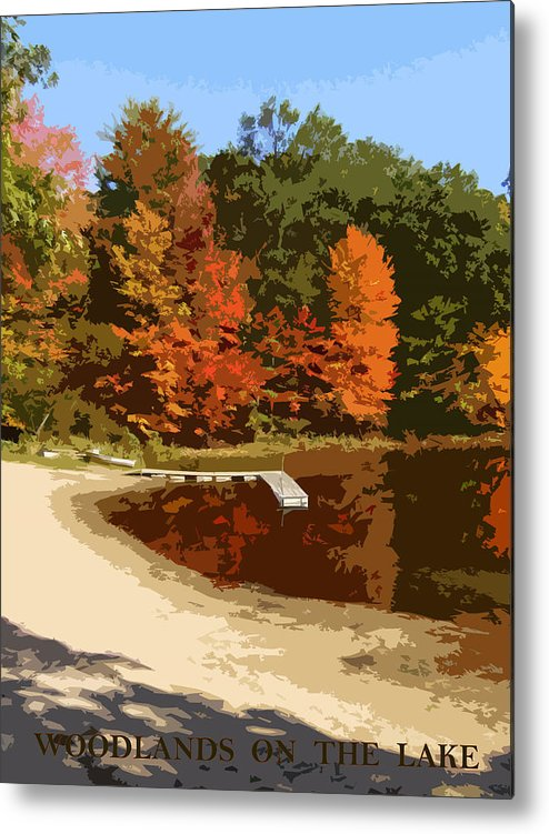 Autumn Metal Print featuring the photograph Woodlands On The Lake by Michelle Calkins