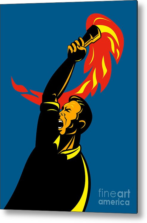 Illustration Metal Print featuring the digital art Worker With Torch by Aloysius Patrimonio