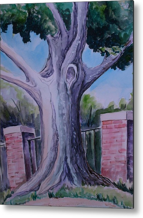 Landscape Metal Print featuring the painting Wortham Oak by Paul Choate